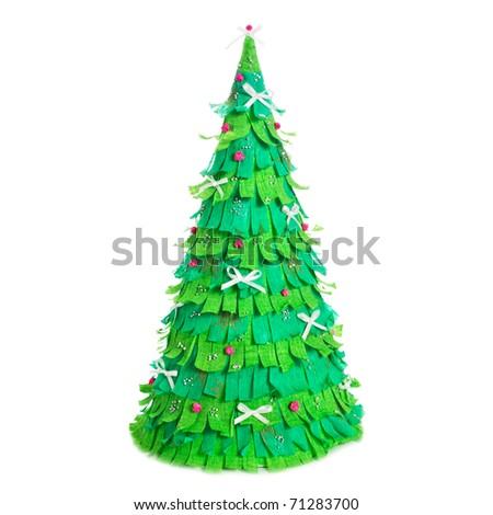 handmade paper christmas tree isolated on white background - stock photo
