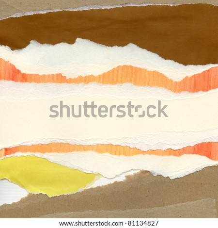Handmade paper collage background, texture. - stock photo