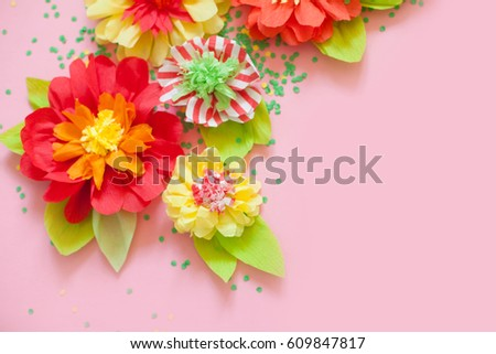 Handmade paper flowers stock photo edit now shutterstock handmade paper flowers mightylinksfo