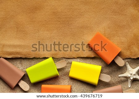 Handmade paper sheet and ice lollies