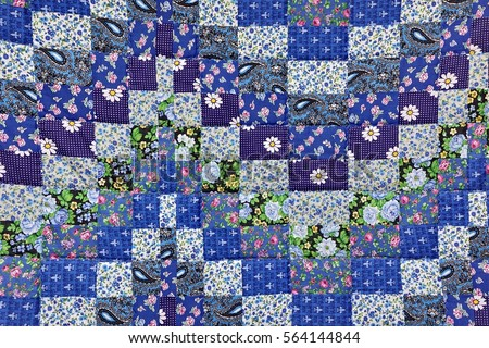 Handmade Patchwork Quilt Background Colorful Rustic Stock