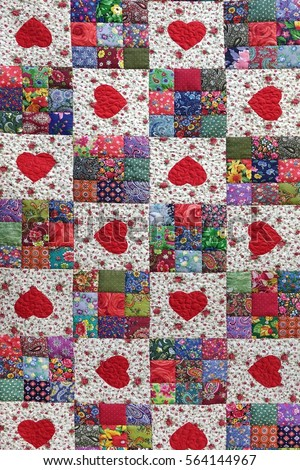 Handmade Patchwork Quilt Floral Summer Pattern Stock Photo