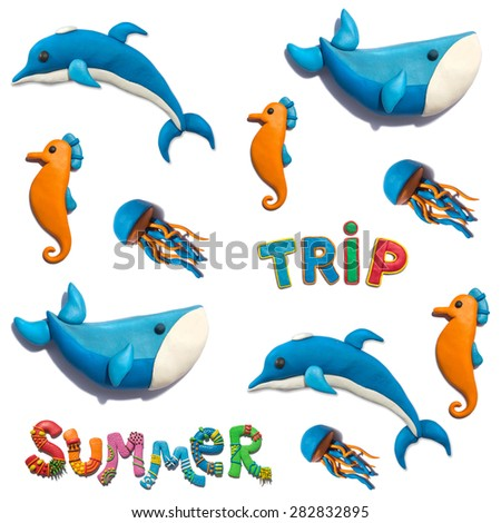Handmade plasticine seamless pattern with sea animals and typography. Whale, dolphin, sea horse, jellyfish and decorated lettering background. - stock photo