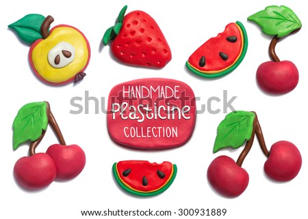 Handmade plasticine summer fruits collection. Apple, strawberry, cherry, watermelon all objects handmade of plasticine and big resolution. - stock photo