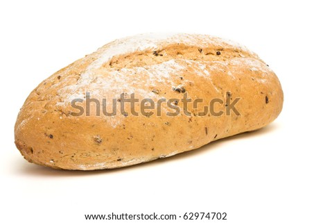 Handmade Potato n herb bread from low perspective isolated against white. - stock photo