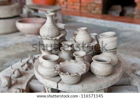 Handmade pottery factory in Thailand. - stock photo