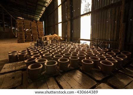 Handmade pottery in Thailand - stock photo