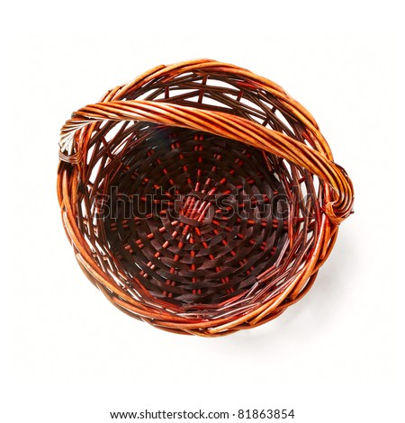 Handmade rattan basket on white background - stock photo