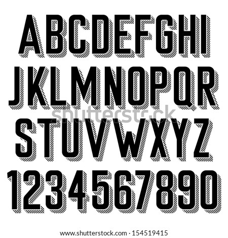 Handmade retro font. 3d extruded type. Raster version. - stock photo
