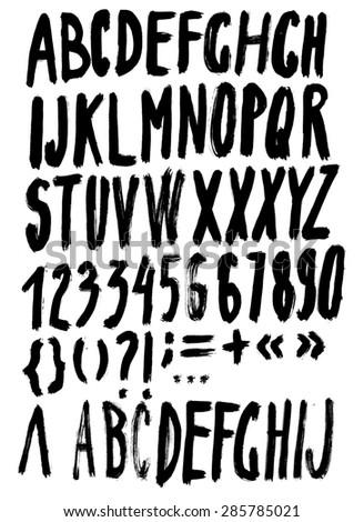 Handmade Roman alphabet - drawn by ink - stock photo
