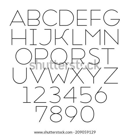 Handmade sans-serif font. Thin type - stock photo