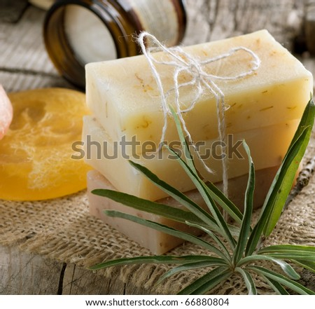 Handmade Soap closeup.Spa treatment - stock photo