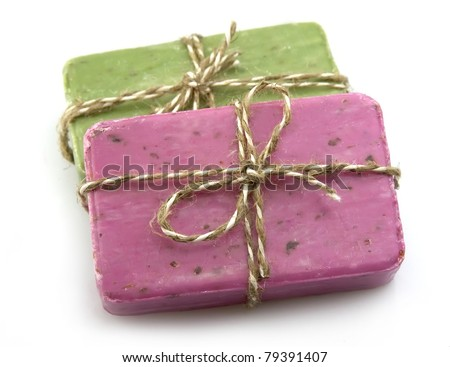 Handmade Soap on a white background - stock photo