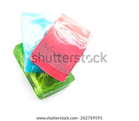 handmade soap on white - stock photo
