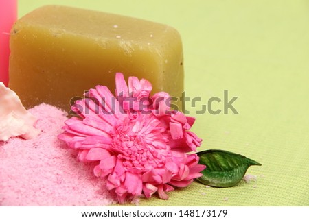 Handmade soap, sea salt for beauty and body health/Spa design