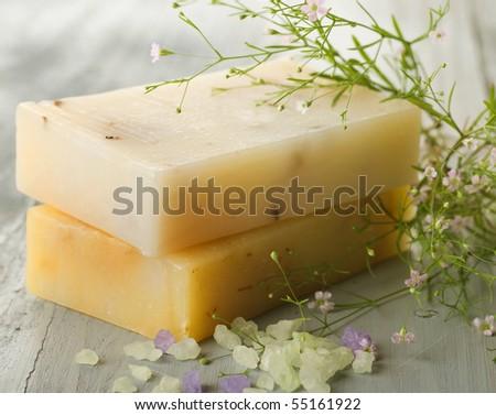 Handmade Soap.Spa products - stock photo