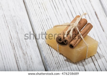 handmade soap with cinnamon