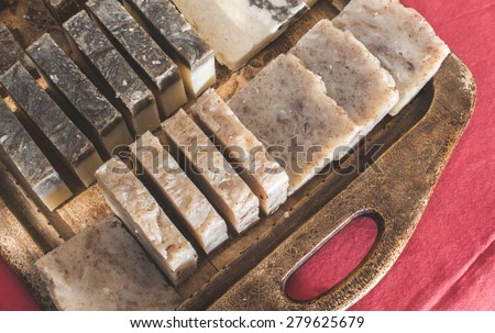 Handmade soap with herbs.  - stock photo