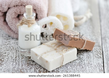 Handmade soap with oatmeal, milk and cocoa - stock photo