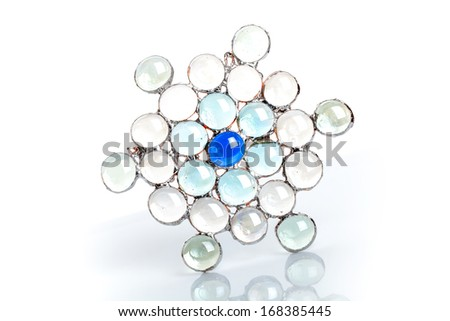Handmade stained glass snowflake on white - stock photo
