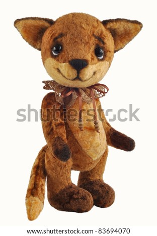 Handmade, the sewed plush toy: Ron fox cub, isolated on white