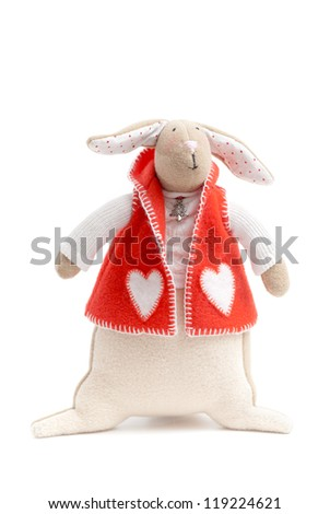 handmade toy cute litlle New Year rabbit - stock photo