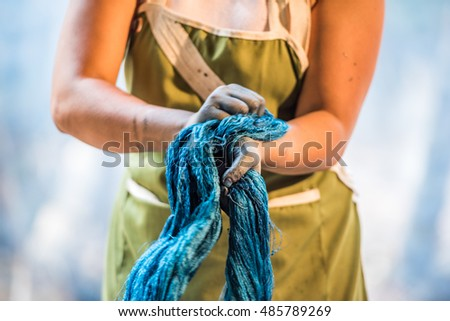 Handmade twist fabric tied in dye