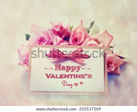 Handmade Valentines Day card with pink roses - stock photo