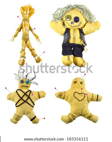 Handmade Voodoo dolls set isolated on white - stock photo