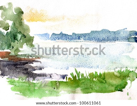Handmade watercolour of a wild river in the summer - stock photo