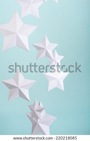 Handmade white paper stars - stock photo