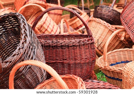 Handmade wicker baskets - stock photo