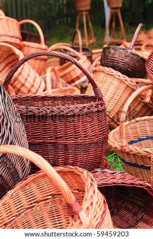 Handmade wicker baskets - stock photo