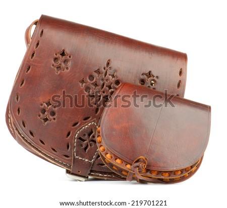 Handmade Women's Leather Handbags isolated on white background - stock photo