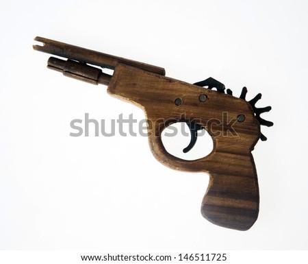 handmade wood gun - stock photo