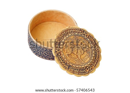 Handmade wooden box with an image of lynx on a lid, isolated on white - stock photo