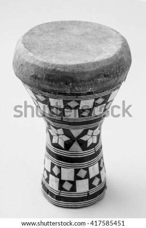 Handmade wooden drum, Egypt. Black - white. - stock photo