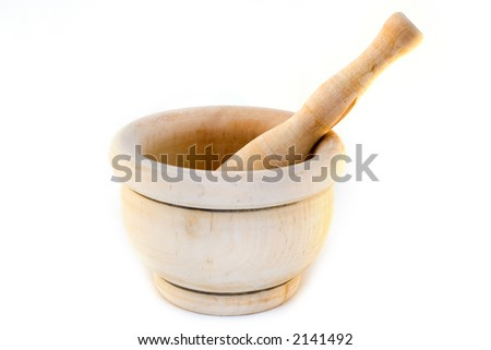 Handmade wooden mortar