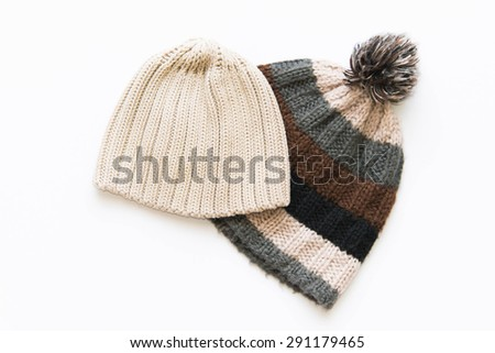 Handmade Wool Caps - stock photo