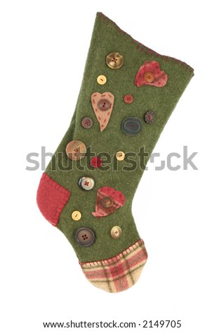 Handmade xmas stocking with buttons isolated - stock photo