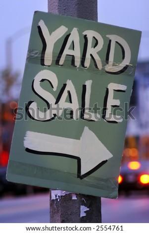Handmade Yard Sale Sign - stock photo