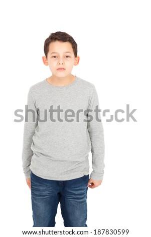 Handome little boy posing - stock photo