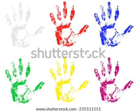 handprint of different colors illustration isolated on gray background - stock photo