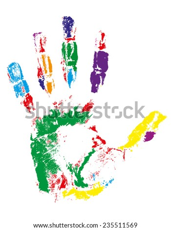 handprint of different colors illustration isolated on gray background