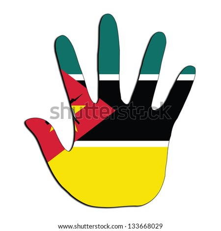 Handprint with flag inside - Mozambique