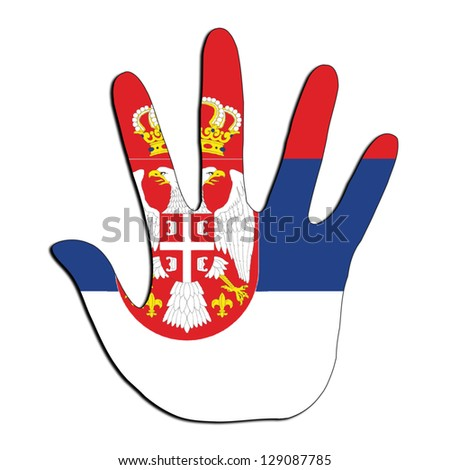 Handprint with flag inside - Serbia