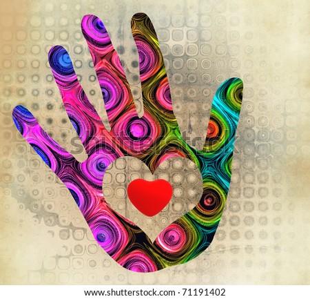 handprint with heart - stock photo