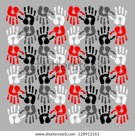 handprints - stock photo