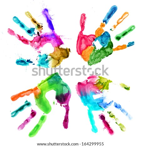 Handprints in different colors on a white background - stock photo