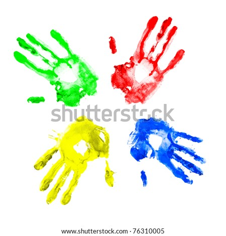 Handprints in different colors on a white background. - stock photo